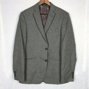 Men's Gray 2 Button Lined  Blazer Jacket Size 40L